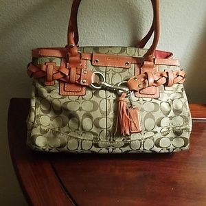 Coach signature canvas and orange leather bag